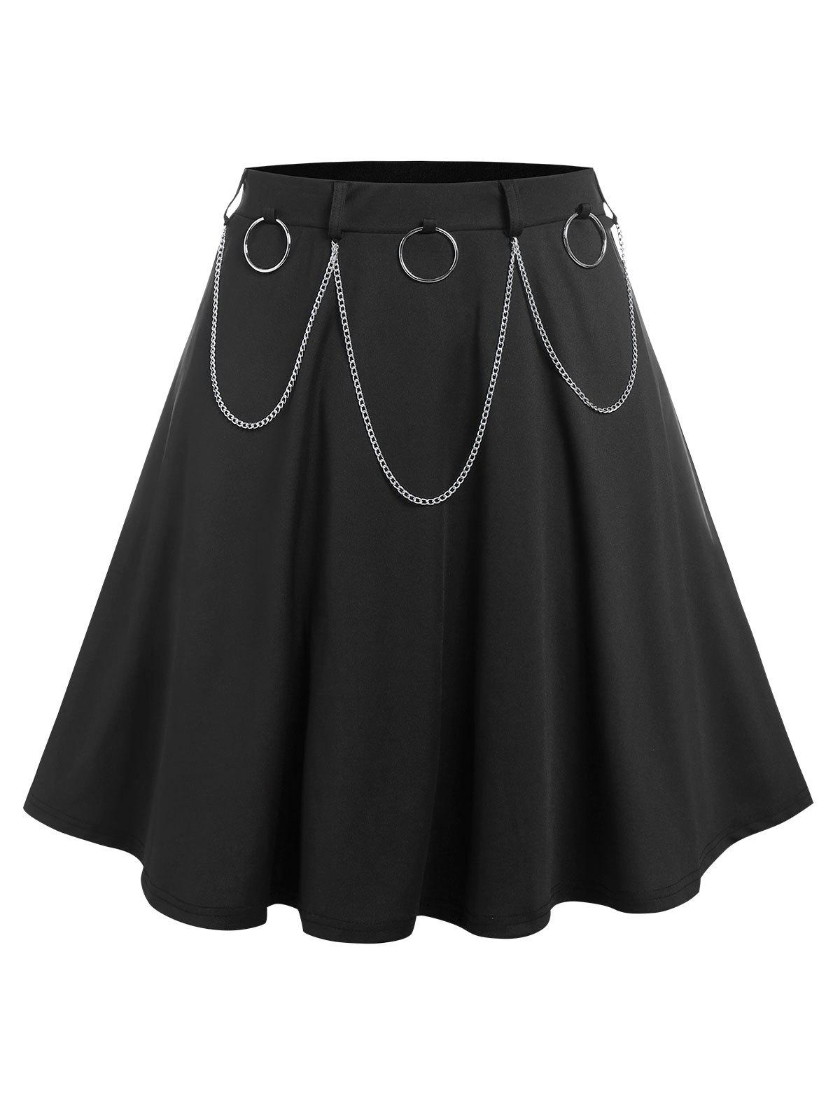 Plus Size O Ring Chain A Line Skirt - BLACK 5X