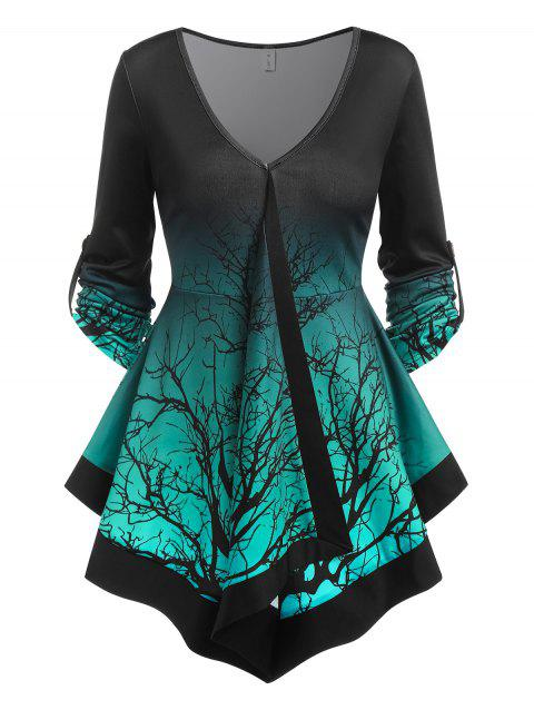 Tree Branches Print Ombre T-shirt