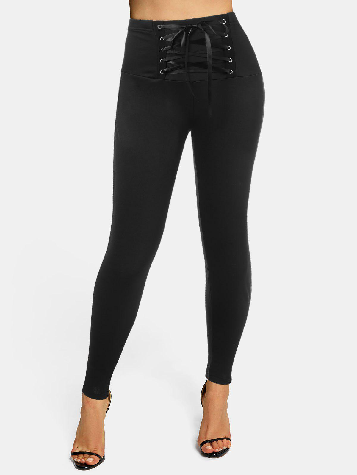 High Waisted Lace-up Skinny Leggings - BLACK L