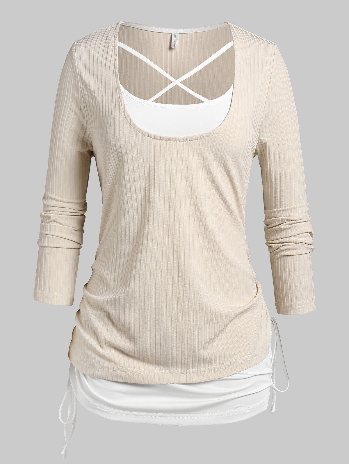 Plus Size Ribbed Tee and Crisscross Cinched Tank Top Set - LIGHT COFFEE 3X