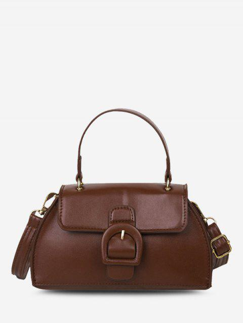 Buckle Detail Faux Leather Crossbody Bag