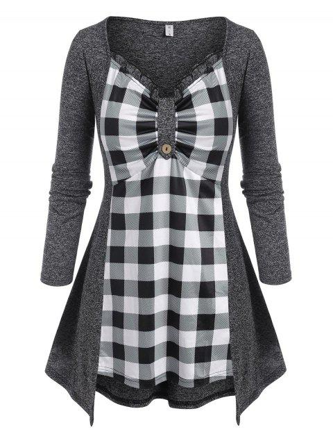 Plus Size Plaid Space Dye Frilled Long Sleeve Tee
