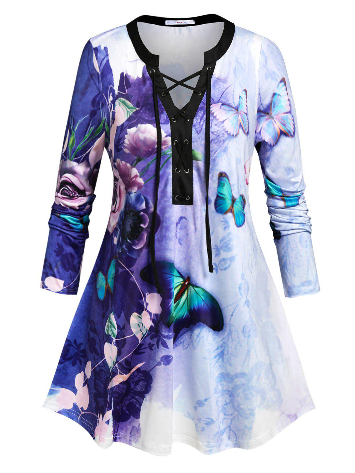 Plus Size Butterfly Flower Lace Up Tie Dye T-shirt - CONCORD 5X