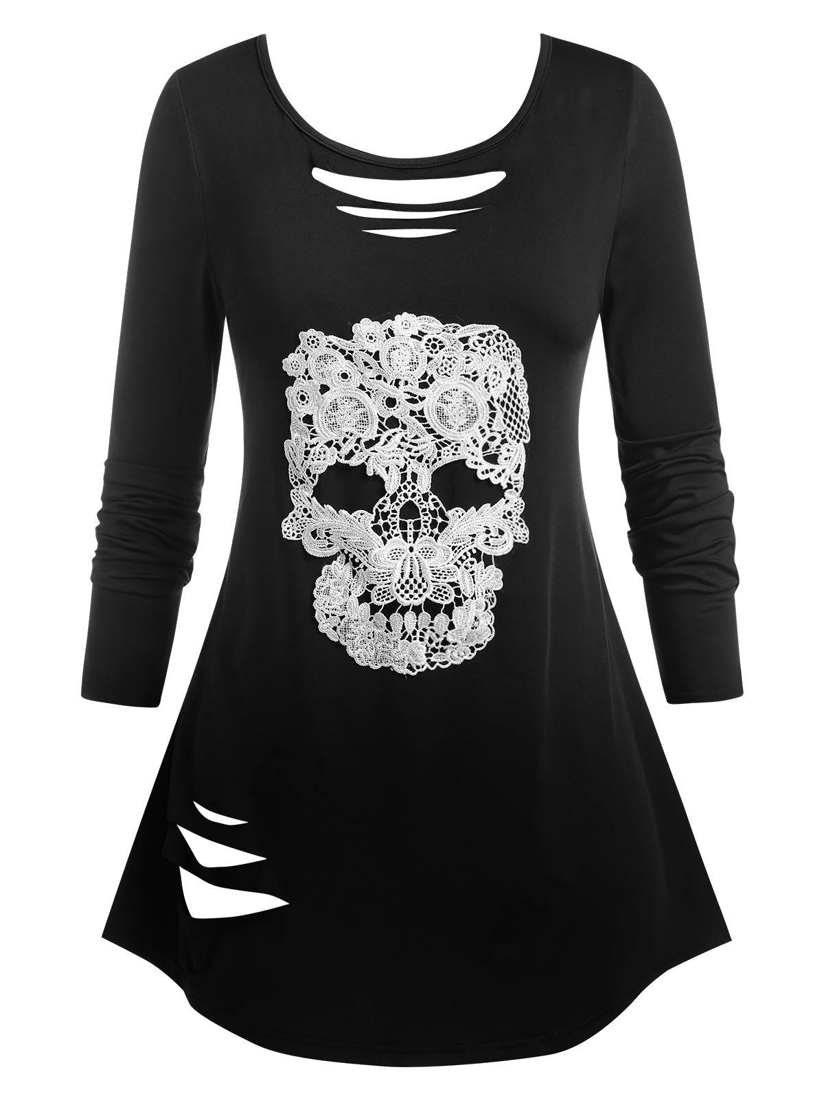 Plus Size Ripped Skull Lace Halloween Tee - BLACK 2X