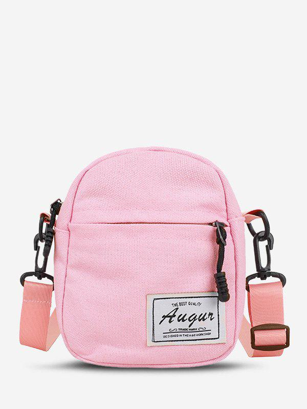 Canvas Letter Patch Mini Crossbody Bag - PINK