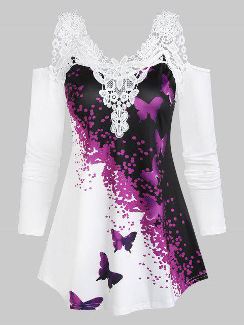 Cold Shoulder Butterfly Print Lace Insert T-shirt