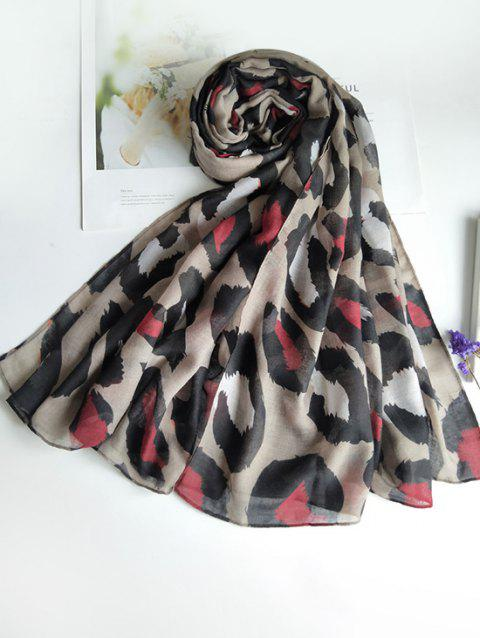 Leopard Printed Long Voile Scarf