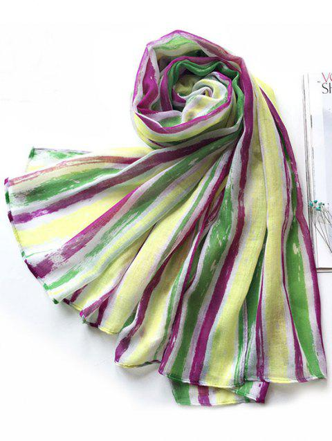 Colorblock Striped Pattern Long Voile Scarf