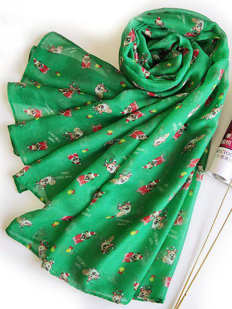 Long Christmas Dogs Printed Voile Scarf