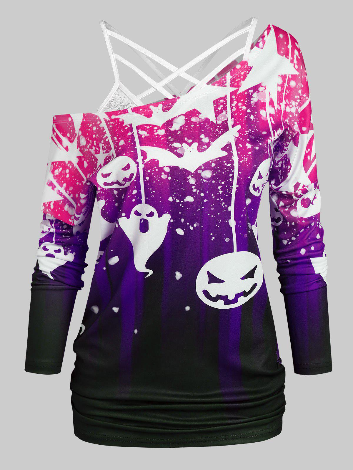Halloween Bat Pumpkin Print T-shirt with Flower Lace Cami Top - CONCORD S