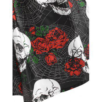 Halloween Skull Spider Web Flower Print Lace Up Caged Dress