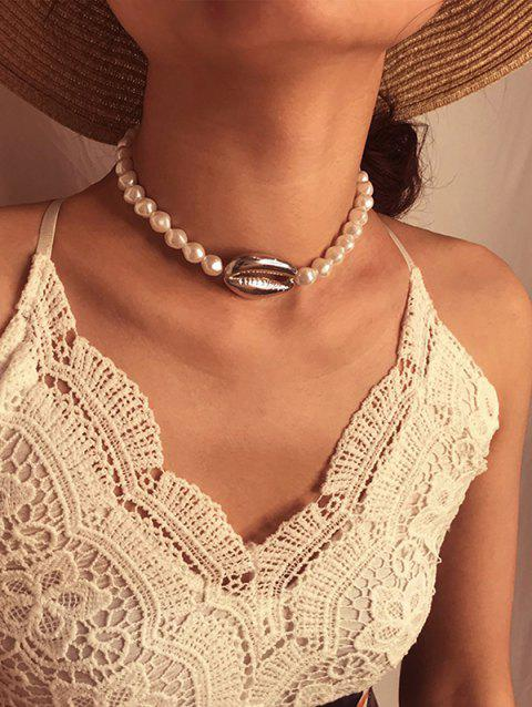 Faux Pearl Cowrie Shell Choker Necklace