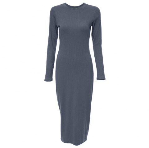 Jewel Collar Long Sleeve Color Bodycon Women Midi Dress - GRAY ONE SIZE(FIT SIZE XS TO M)