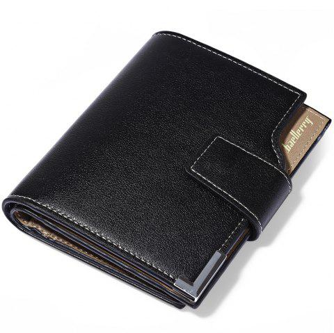Baellerry Three-folded Male Vertical Wallet Multifunctional Leather Credit Card Bifold Purse - BLACK