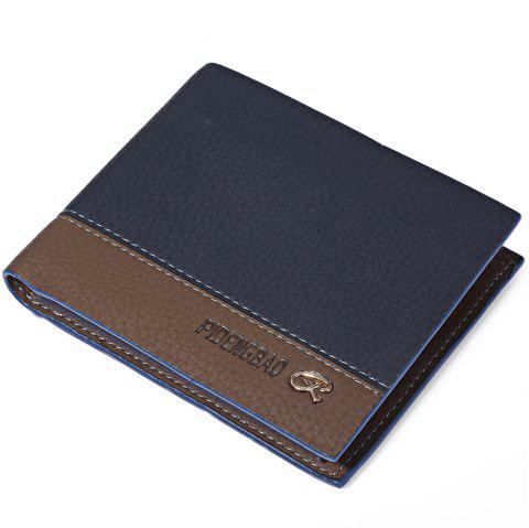 Creative Male Transverse Wallet Soft Leather Credit Card Bifold Purse - BLUE