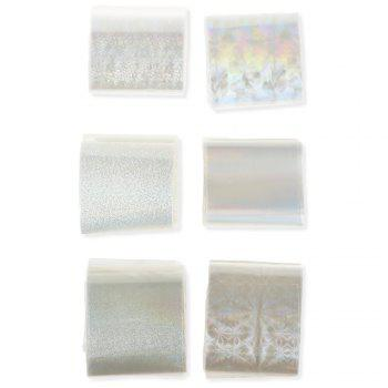 6pcs Transparent Nail Foils Starry Sky Glitter Nail Art Transfer Sticker Paper - COLORMIX COLORMIX