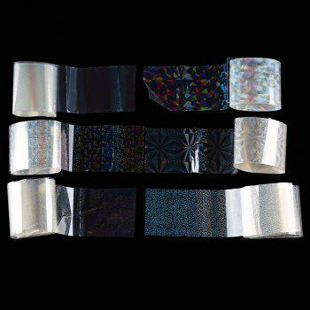6pcs Transparent Nail Foils Starry Sky Glitter Nail Art Transfer Sticker Paper -  COLORMIX