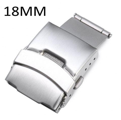 18MM Stainless Steel Fold Over Clasp with Push Button - SILVER 18MM