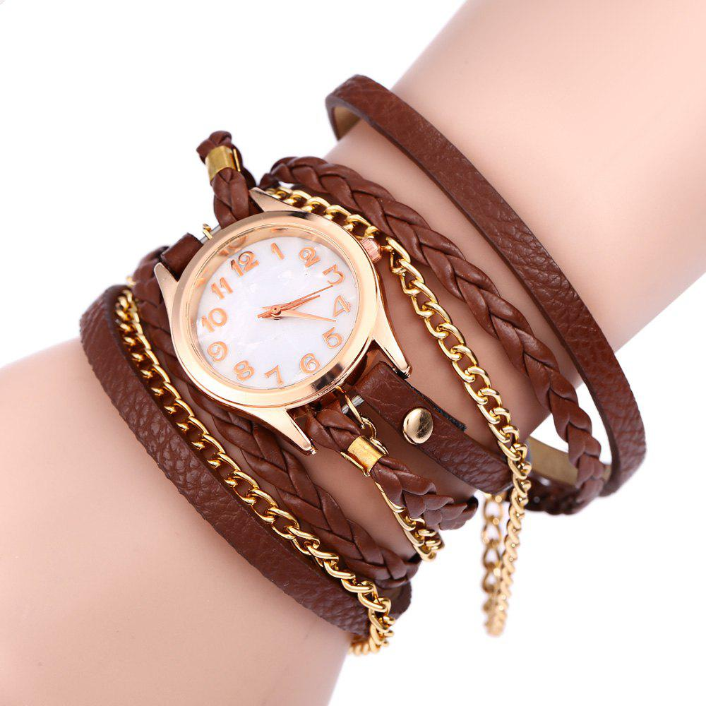 Women Vintage Weave Wrap Leather Bracelet Wrist Watch - BROWN