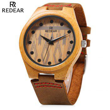 REDEAR SJ1448 - 5 Wooden Female Quartz Watch Special Pattern Dial Leather Strap Wristwatch