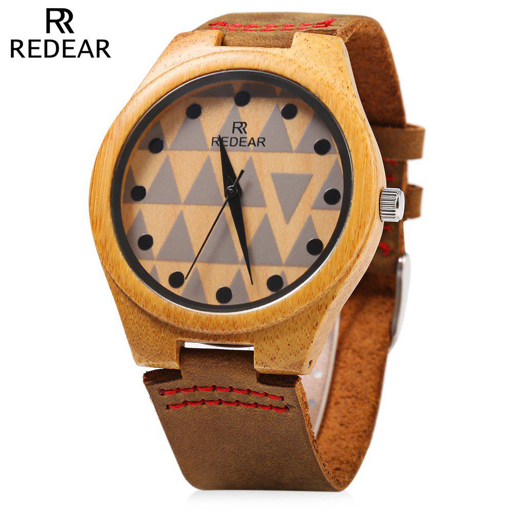 REDEAR SJ 1448 - 7 Wooden Female Quartz Watch Special Pattern Dial Leather Strap Wristwatch - BROWN