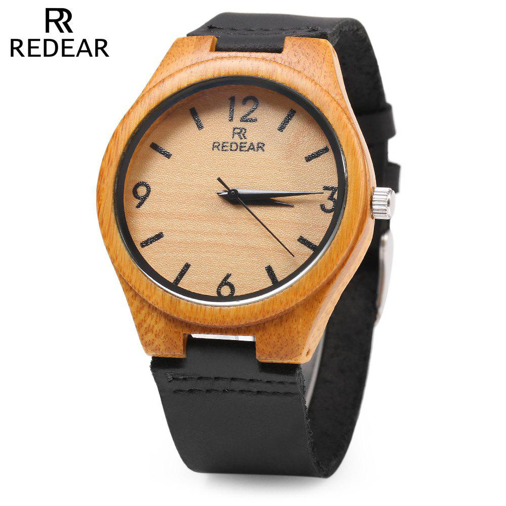 REDEAR SJ 1448 - 8 Wooden Female Quartz Watch Leather Strap Wristwatch