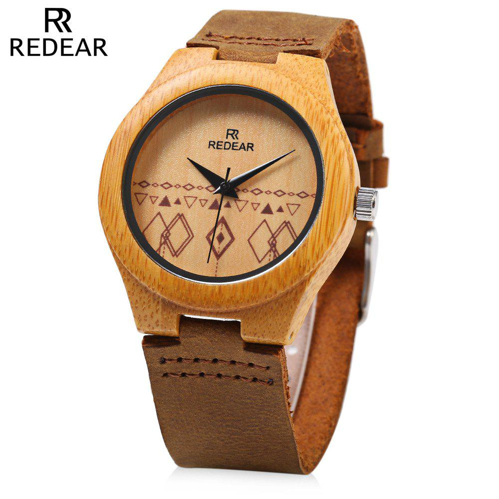 REDEAR Wooden Female Quartz Watch Unique Pattern Dial Leather Strap Wristwatch - BROWN