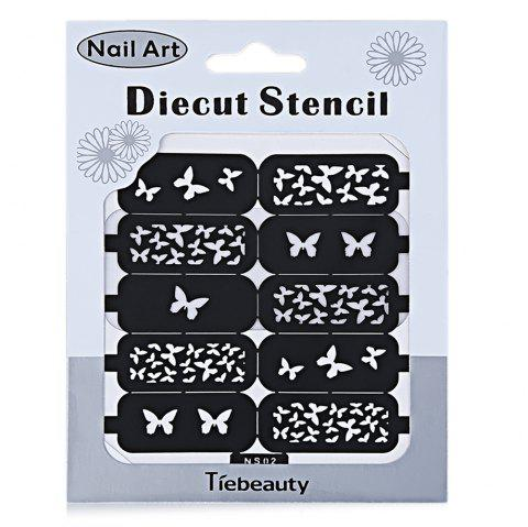 DIY Template Stickers for Nails Charms Flower Heart Bow Stamping Nail Art Manicure Guide - NS02