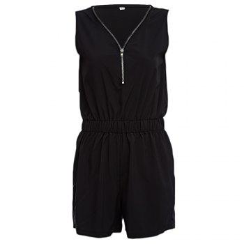 Casual V-neck Sleeveless Front Zipper Design Elastic Waist Pure Color Women Romper