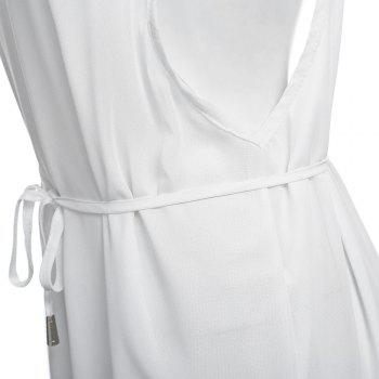Sexy Suspender Plunging Neck Backless Hollow Out Liner with Belt Side Slit Pure Color Ankle-length Women Chiffon Dress - WHITE M