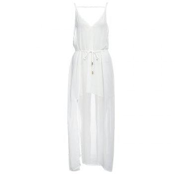 Sexy Suspender Plunging Neck Backless Hollow Out Liner with Belt Side Slit Pure Color Ankle-length Women Chiffon Dress - WHITE WHITE