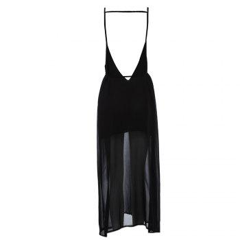 Sexy Suspender Plunging Neck Backless Hollow Out Liner with Belt Side Slit Pure Color Ankle-length Women Chiffon Dress - BLACK BLACK