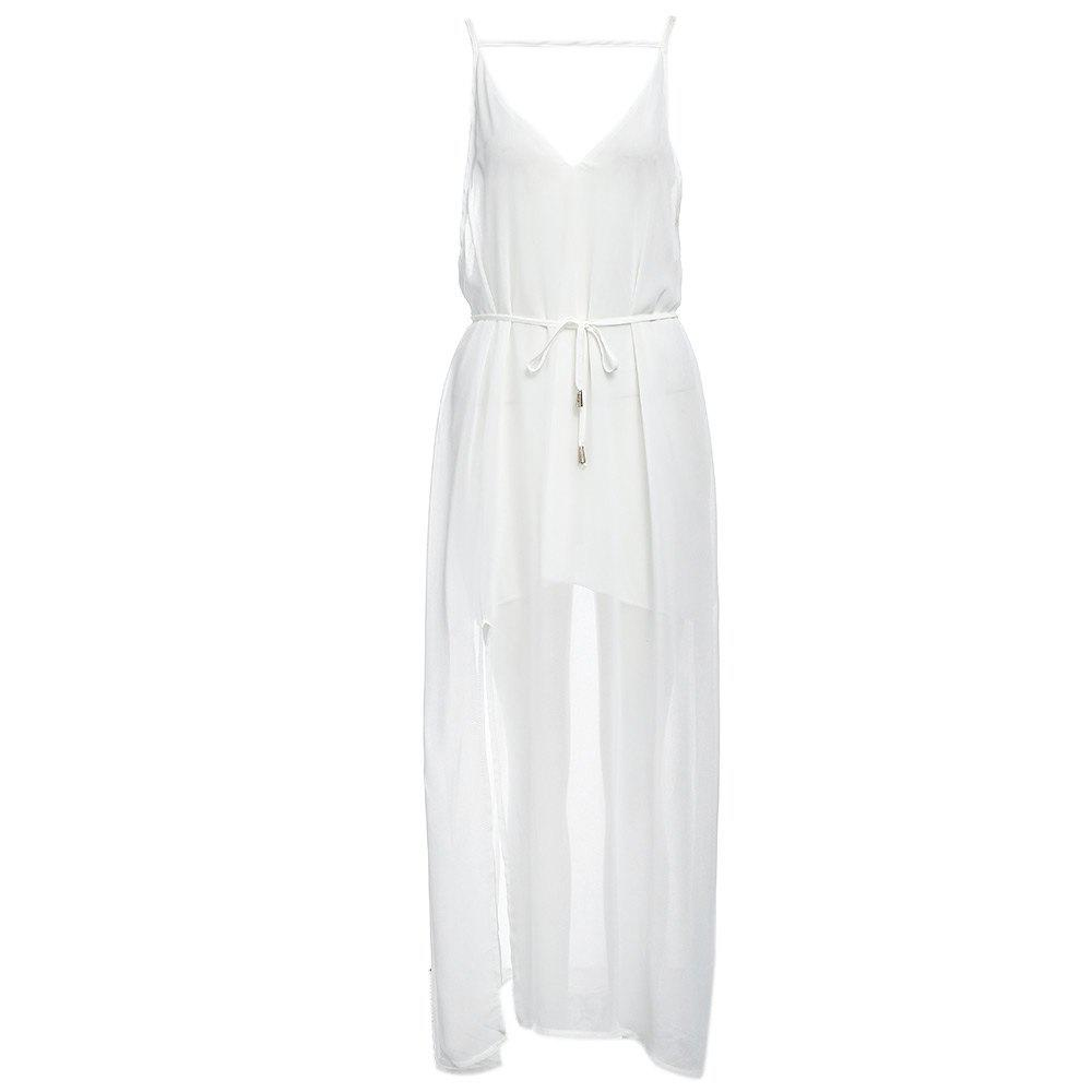 Sexy Suspender Plunging Neck Backless Hollow Out Liner with Belt Side Slit Pure Color Ankle-length Women Chiffon Dress - WHITE S