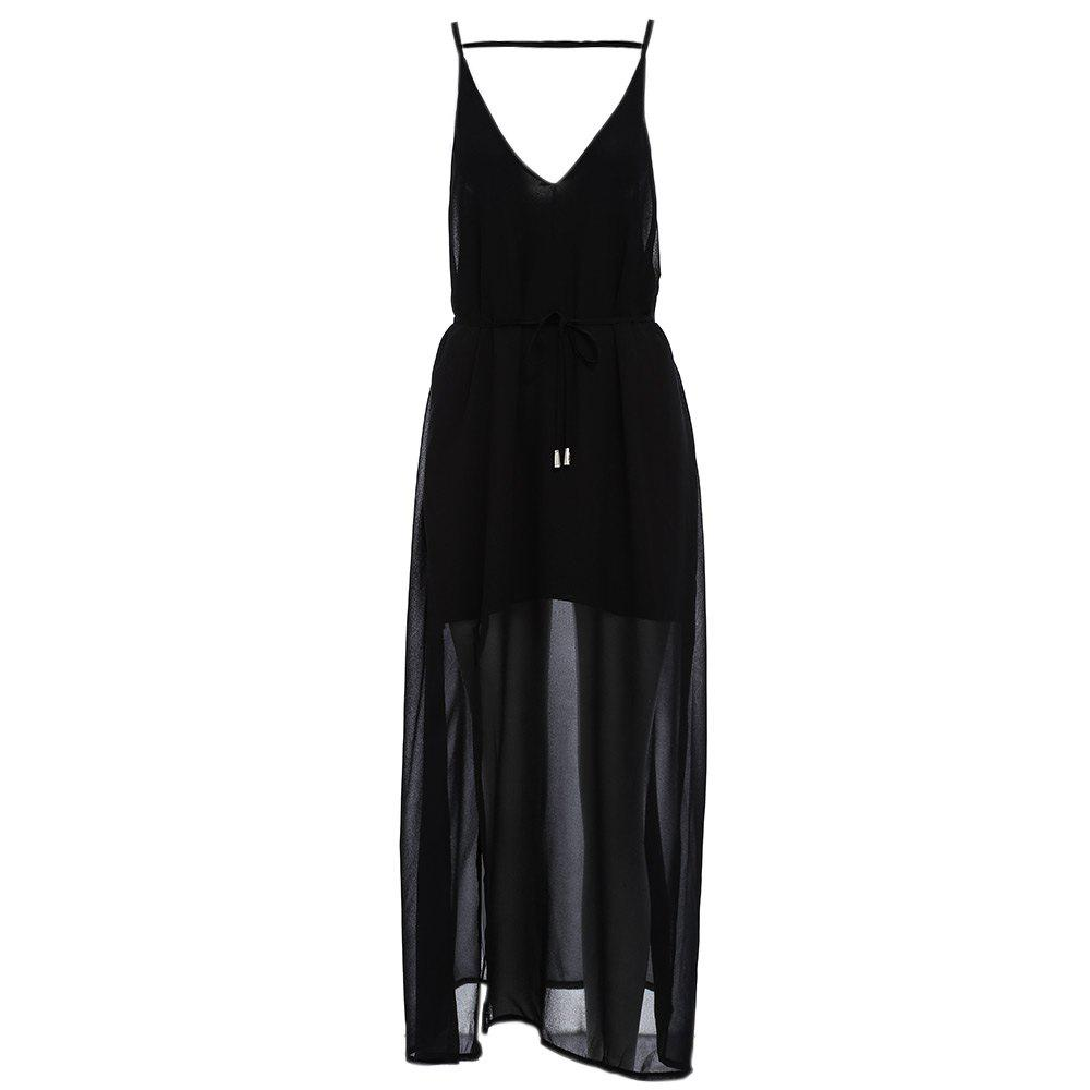 Sexy Suspender Plunging Neck Backless Hollow Out Liner with Belt Side Slit Pure Color Ankle-length Women Chiffon Dress - BLACK S
