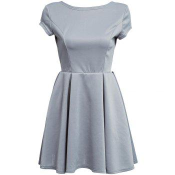 Fashionable Round Collar Short Sleeve Mid Elastic Waist Pleated Backless Back Bandage A-line Women Mini Dress