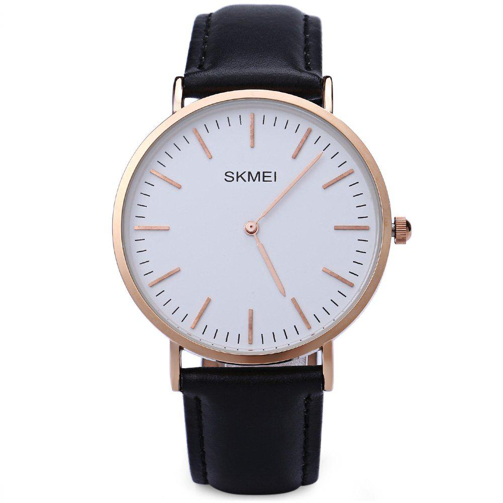 SKMEI 1181 Men Quartz Watch 30M Water Resistance Leather Strap Ultrathin Dial Wristwatch