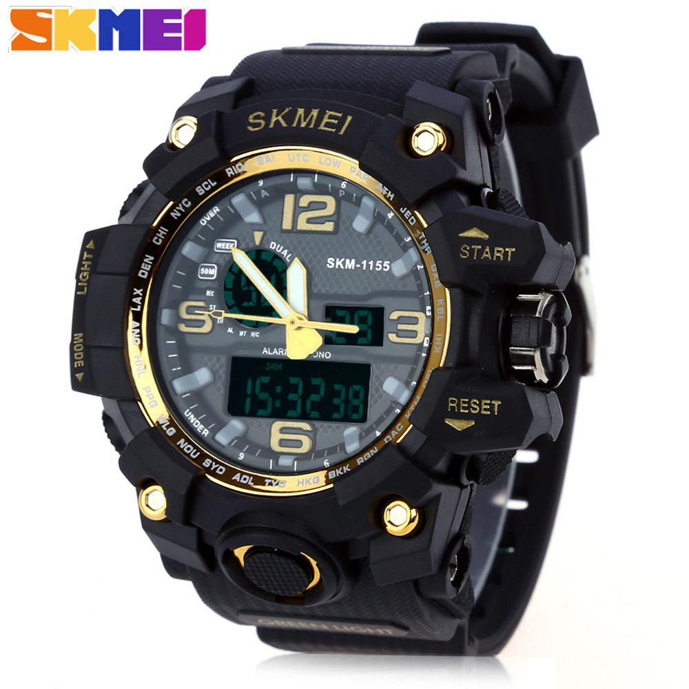 SKMEI 1155 Men Double Movement Watch Water Resistance Dual Time Day Alarm Light Wristwatch skmei 1049 50m waterproof solar double movement double time shows men s sport watch black