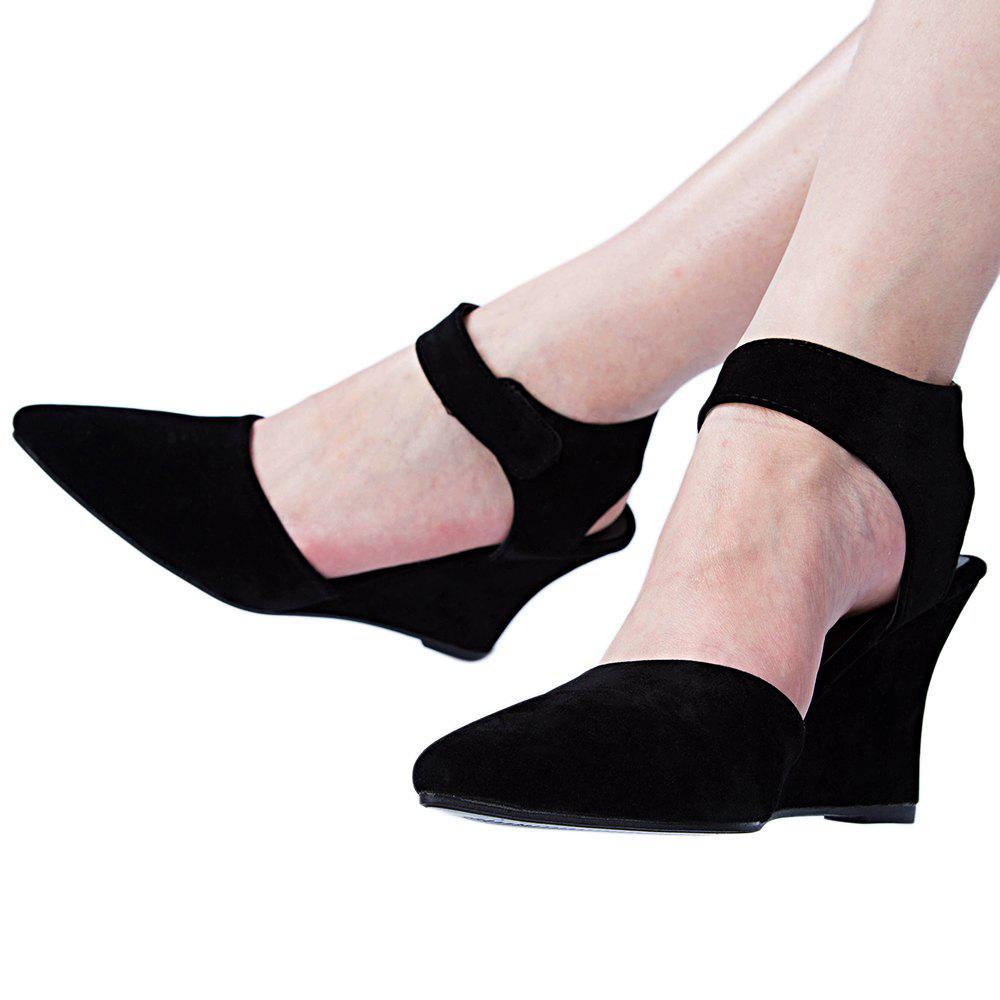 Women Summer Ankle Pointed Toe Sexy Sandals High Heels Shoes - BLACK 35