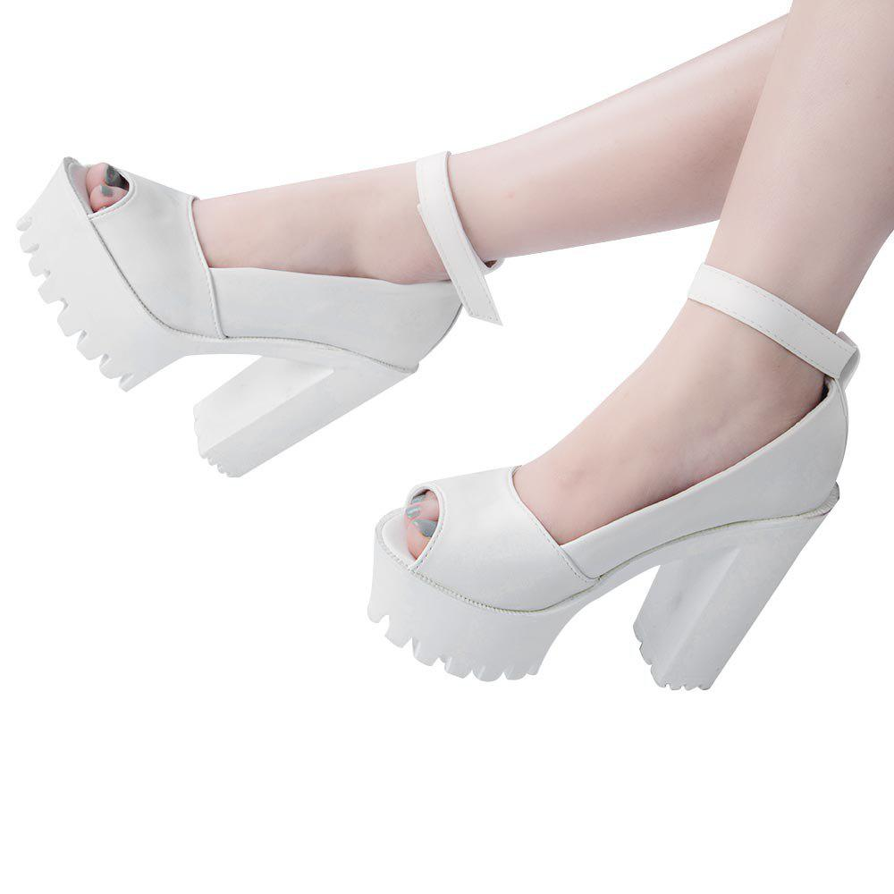 Summer Causal Open Toe Buckle High-Heeled Thick Waterproof Platform Sandals for Women - WHITE 37