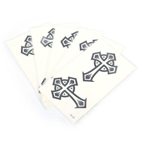 5pcs Temporary Tattoo Water Stickers Flower Cats English Metal Pattern Body Art - 15