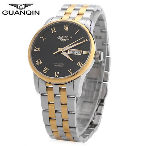 GUANQIN GJ16025 Men Auto Mechanical Watch Roman Numerals Scale Transparent Back Cover Calendar Luminous Pointer Wristwatch - GOLD/SILVER STAINLESS STEEL BAND