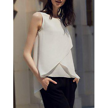 Chic Round Collar Pure Color Chiffon Women Wrap Tank Top