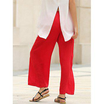 Stylish Elastic Waist Straight Solid Color Chiffon Women Wide Leg Pants - RED S