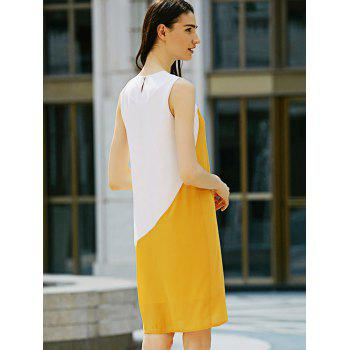 Casual Round Collar Sleeveless Color Block Straight Women Dress - WHITE/YELLOW L