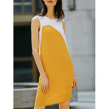 Casual Round Collar Sleeveless Color Block Straight Women Dress
