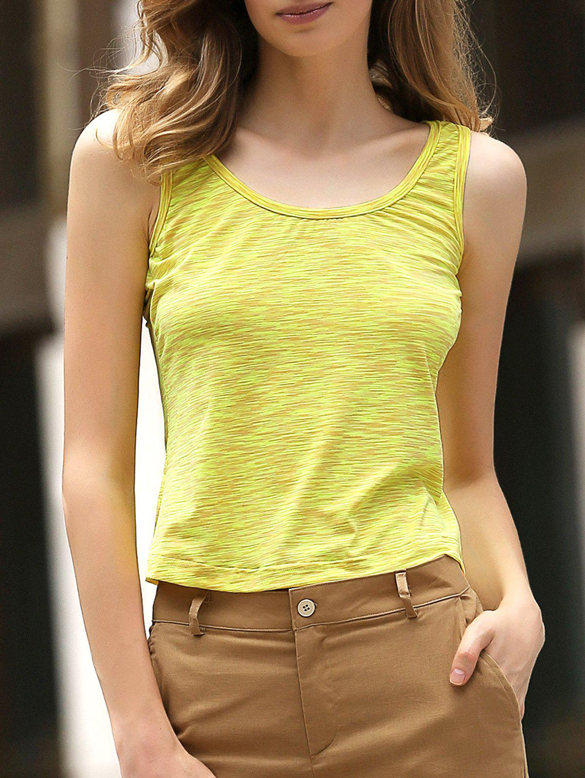 Simple Scoop Collar Sleeveless Cotton Blend Women Tank Top - YELLOW M