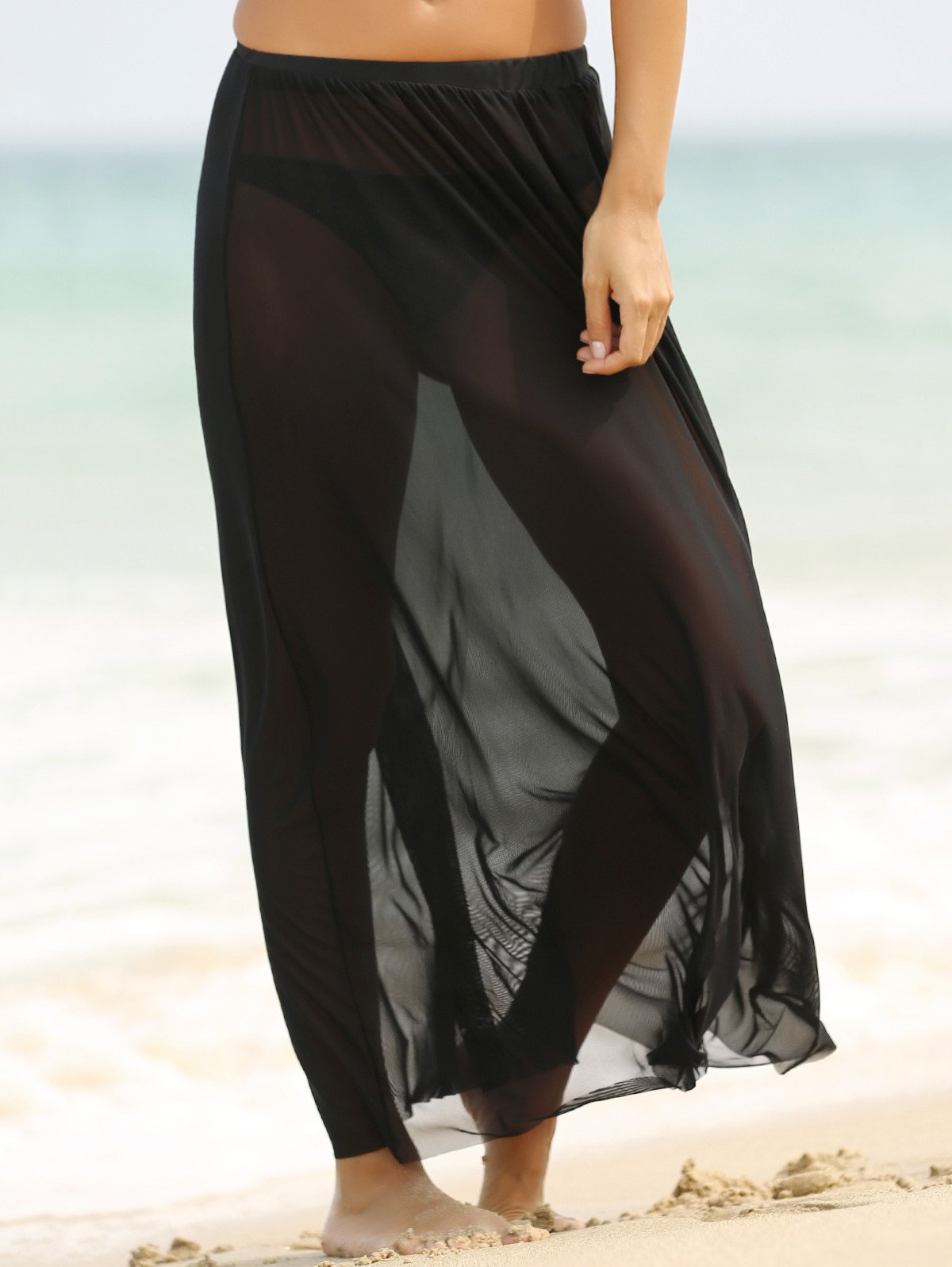Sexy Elastic Waist See-Through Straight Women Tulle Skirt - BLACK XL