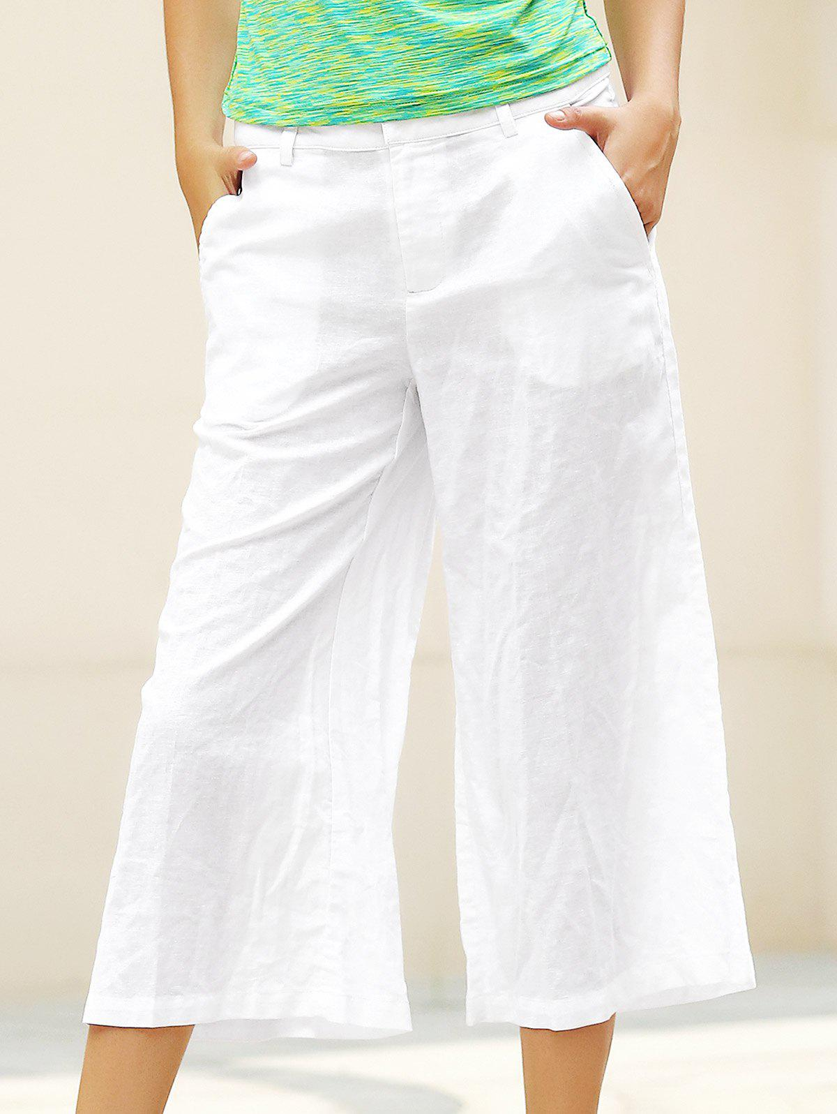 Trendy Drawstring Elastic Pure Color Women Capri Wide Leg Pants - WHITE M
