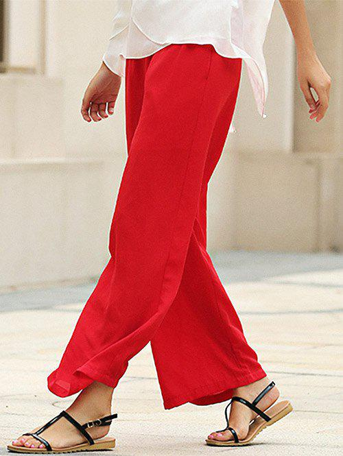Stylish Elastic Waist Straight Solid Color Chiffon Women Wide Leg Pants - S RED