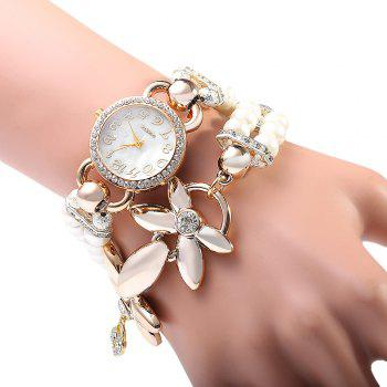 Women Pearl Rhinestone Flower Bracelet Quartz Watch